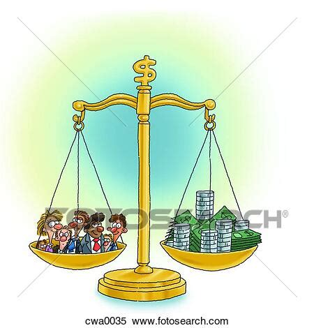 A business scale weighing between people and money Stock