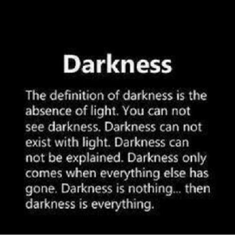 Darkness the Definition of Darkness Is the Absence of
