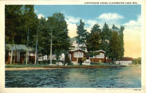 Water View of Lighthouse Lodge Clearwater Lake, WI Postcard