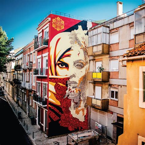 Vhils & Obey Giant Collaborate in Lisbon - Street Art