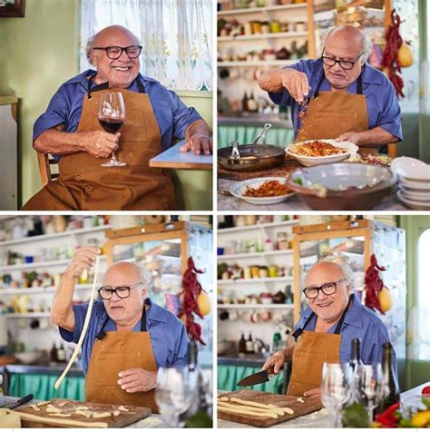 Just Danny DeVito making pasta and drinking wine : aww