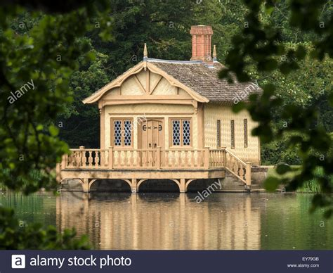 Old Victorian Swiss chalet style boathouse by the lake in