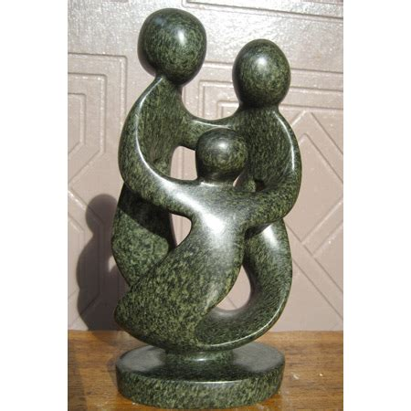 """African Sculpture - Stone Family 3 heads, 8""""H Shona Stone"""