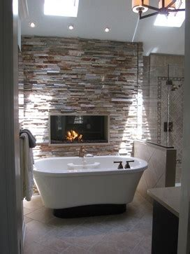 tub & fireplace (With images)   Rustic master bathroom