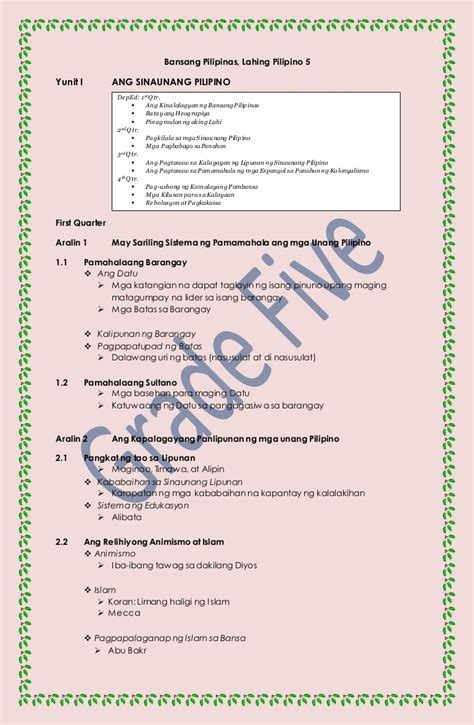 Araling Panlipunan-Course Outline for Grade Five